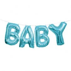 Blue 'BABY' Mini Letters Air-Fill Foil Balloons.